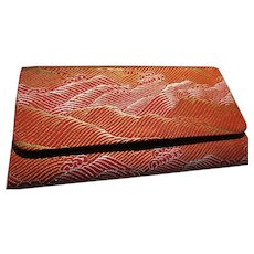 Japanese Red-Orange Obi Fabric Foldover Wallet with Moving Sea Motif