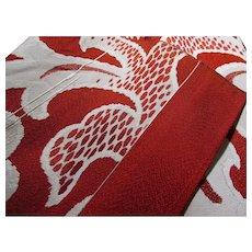 """Tapestry-like Red and White Japanese Obi-Table Runner, 144"""" 11 1/2"""""""