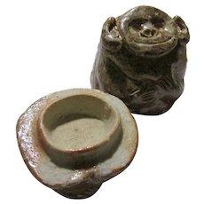 """Japanese Shigaraki Ware Rustic Pottery """"Kogo"""" Incense Holder of Smiling Monkey by Rakusai Takahashi"""