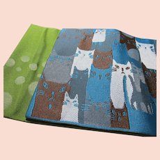 "Japanese Obi with White, Gray, Brown, and Blue Sitting Cats, 157"" x 6 1/2"""