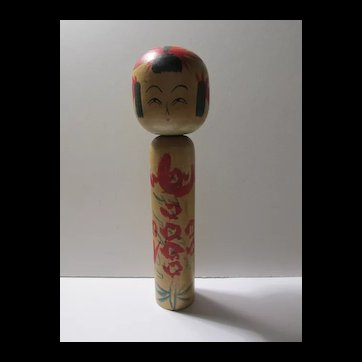 """SALE - Vintage Japanese Wooden Kokeshi with Red Flowers, 7 1/4"""""""