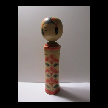 """SALE -  Vintage Japanese Handcrafted Wooden Kokeshi Doll with Handpainted Red Blossoms, 7"""""""