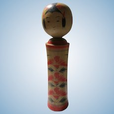 "7"", Vintage Japanese Handcrafted Wooden Kokeshi Doll with Handpainted Red Blossoms"