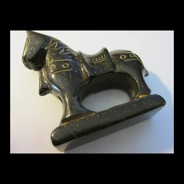 """Carved Brown Jade Collectible War Horse, 3"""" x 2 3/4"""""""