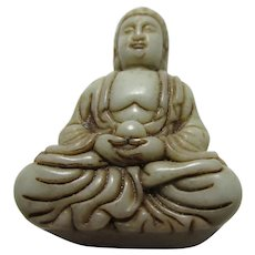 "Carved White Jade Figurine of Sitting Buddha, 2 1/4"""
