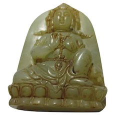 Carved Jade Figurine Collectible of the Goddess of Mercy, 2 1/4""