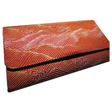 Red Japanese Obi Fabric Foldover Wallet of Wind Over Mountains