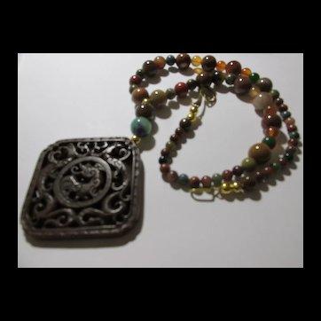 "Artisan Brown Jade Dragon and Phoenix Pendant with Multi-Gemstone Bead Necklace, 20"""