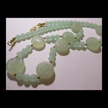 """Chinese Light Green Celadon Flat Carved """"Shou"""" Coins with Jade Bead Necklace, 25"""""""