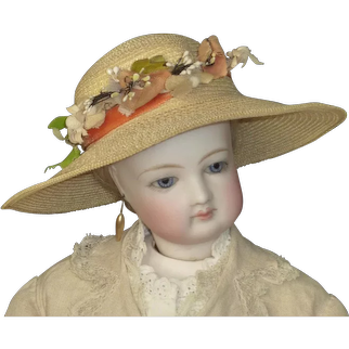 Straw Hat with wide Brim for French Fashion or Other Doll