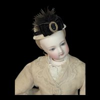Beige Plush Hat with Black Trims for French Fashion