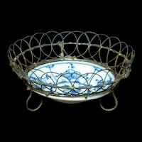 Small China Bowl with Wire-work Rim & Feet
