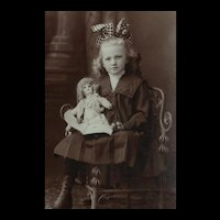 """Framed Photo, Girl with Doll, 15 1/2"""" x 13 1/2"""""""
