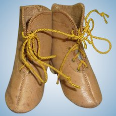 Handsome  #7 Boots with Heels, Camel Colored Leather