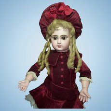"""Pretty 22"""" Depose Tete Jumeau 10 with Expressive Big Brown Eyes & Fabulous Wig--Layaway Available"""