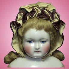 Early Brown Velvet and Cream Silk Bonnet