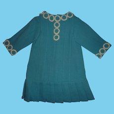 Aqua Blue Bebe Jumeau Dress, Size 9
