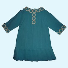 Below Cost! Aqua Blue Bebe Jumeau Dress, Size 9