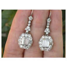 Super Rare! Deliciously Luxurious 4 Carat Total Diamond Weight  Art Deco French Diamond Earrings, Platinum  All Original VS F RARE!!