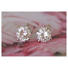 1.40 Carat VS 2 G  Diamond Solitaire Stud Earrings 14K Gold Estate!