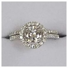 2 Carat TW Diamond Engagement Wedding Set Halo Setting Estate! 14K White Gold