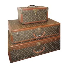 French Dreams!!Louis Vuitton Luggage Original Authentic Antique, Matching 3 Piece Set w/ ORIGINAL keys, J'Adore!!