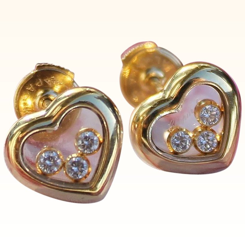Click To Expand Authentic Chopard Hy Diamond Heart Earrings 18k Yellow Gold