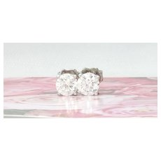 1.40 Carat VS1 Diamond Stud Earrings 18k Gold High Quality Estate