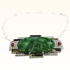 Antique Platinum Art Deco Natural Carved Jade & Old Mine Cut Diamond Brooch