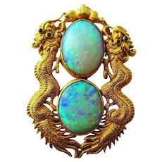 Art Deco Opal Pendant 24K Gold  Chinese Double Dragon Emerald 16.2 Grams 24k Gold Large