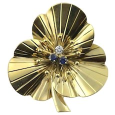 CARTIER Brooch Pin Diamond and Sapphire 14k Gold Vintage Retro Authentic Pansy Flower French