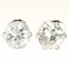 2.15ct Diamond Stud Earrings 14K White Gold Screw Back Vintage