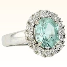 Paraiba Tourmaline & Diamond Ring Neon Blue Green 4.31 Carats T.W.  No Heat Natural Rare