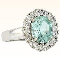 Paraiba Tourmaline & Diamond Ring Neon Blue Green 4.31 Carats T.W.  No Heat Natural Rare