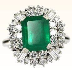 Natural Emerald And Diamond VVS VS 4.17 Carat Vintage Estate Ring GIA GG Certified
