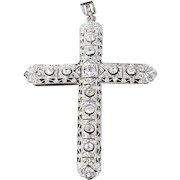 Large Edwardian Diamond and Platinum Cross 2.5 Carats Pendant Antique GIA G.G. Certified Bezel Set
