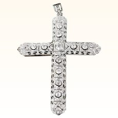 Large Edwardian Diamond and Platinum Cross 2.5 Carats Pendant Antique GIA G.G. Certified Bezel Set