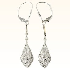 Edwardian Platinum 18K And Diamond Filigree Ear Pendants