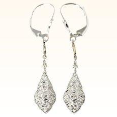 Edwardian Platinum 18K And Diamond Filigree Ear Pendants