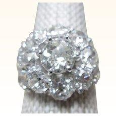 C.1860 3.16TW Carat Diamond Ring Old Mine Cut Platinum GIA G.G. Certified Appraisal
