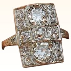 Circa 1920 Art Deco Diamond And Platinum Ring 2.15 Carats