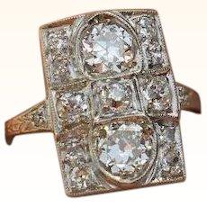 Circa 1920 Art Deco Diamond And Platinum Ring 2.15 Carats