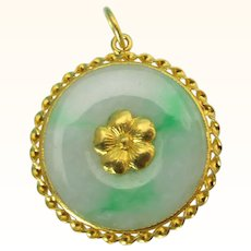 22K Gold Jadeite Jade Pendant Bi Pi With Flower Design Moss In Snow Grade A