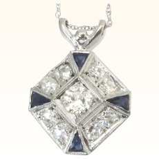 Art Deco Old European Cut Diamond And Platinum Sapphire Pendant Necklace