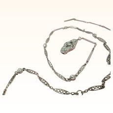 Platinum Belle Epoque Edwardian .85 Carat Diamond By The Yard Necklace With Diamond Clasp