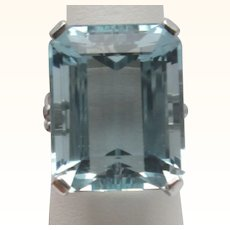 F & F Felger Co. Rare Natural 24 Carat Aquamarine Ring 14K Estate C.1940 Signed FFF