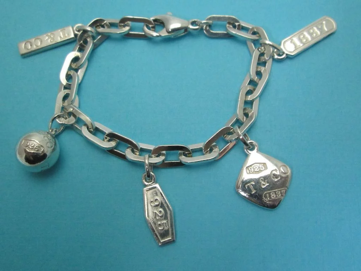 7237475f164474 Tiffany & Co Authentic Retired 1837 5 Charm Bracelet 925 Sterling  Silver Rare Vintage Estate
