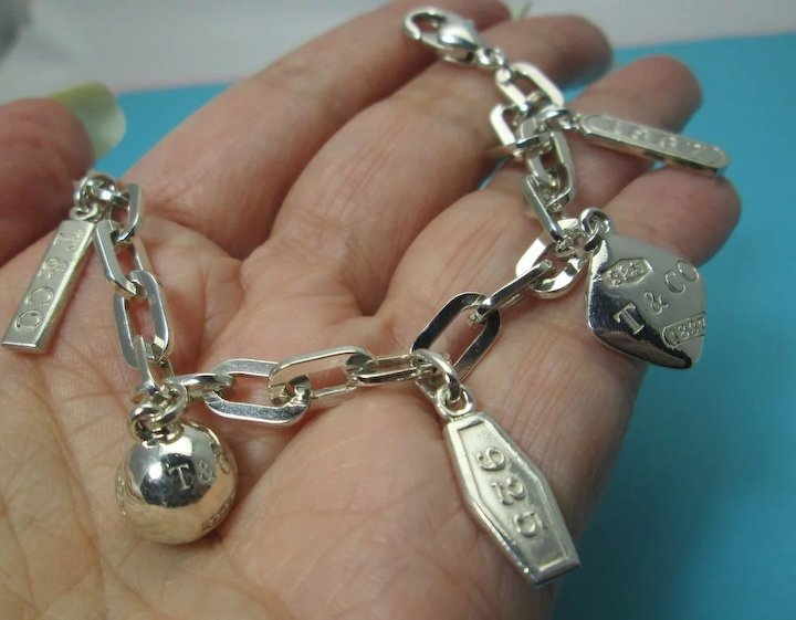 Tiffany Co Authentic Retired 1837 5 Charm Bracelet 925 Sterling Silver Rare Vintage Estate