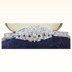 C.1920 Art Deco 3.85 Carat Diamond And Platinum Bracelet 950