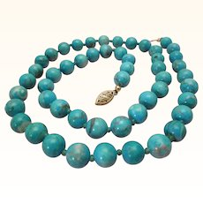Natural Turquoise Necklace 14K Gold 8 MM Beads Vintage Estate